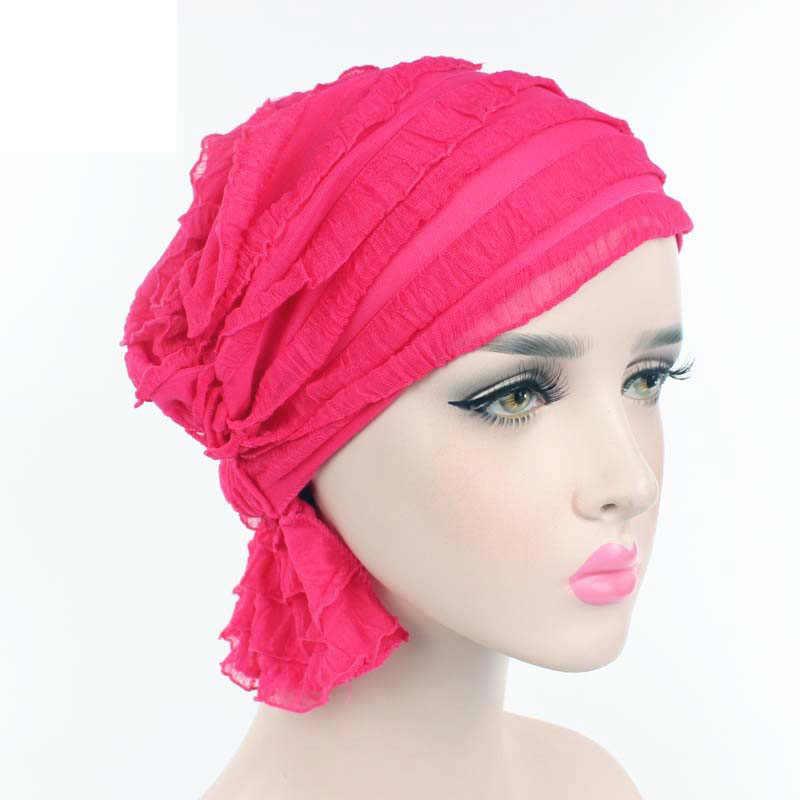 Yeni Kadın Basit Sevimli Türban Kap Kırışıklık Müslüman Fırfır Şifon Işkembe Eşarp Kemoterapi Şapka Kasketleri Şapkalar Kadınlar için F0242