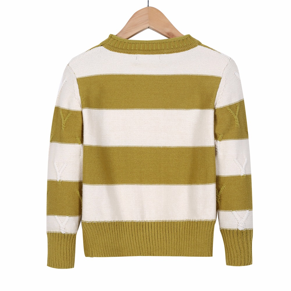 Boys Sweaters Knitted Pullover Khaki Striped Soft Warm Cotton ...