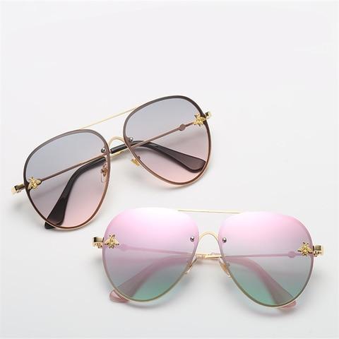 ASOUZ 2019 new fashion ladies sunglasses UV400 metal oval frame bee sunglasses classic brand design sports driving sunglasses Lahore