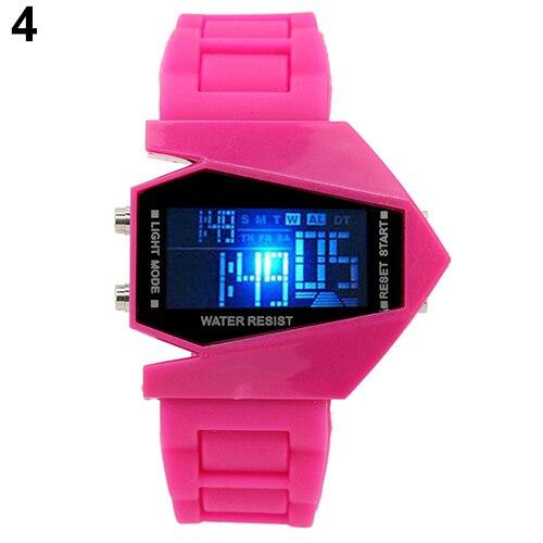 Fashion Top Brand Luxury Cool Men's Oversized Design Light Digital Sports Plan Shaped Dial Wrist Watch 4