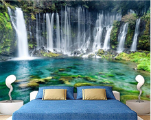 beibehang HD fashion personality wallpaper green landscape simple aesthetic waterfall background wall papel de parede paper