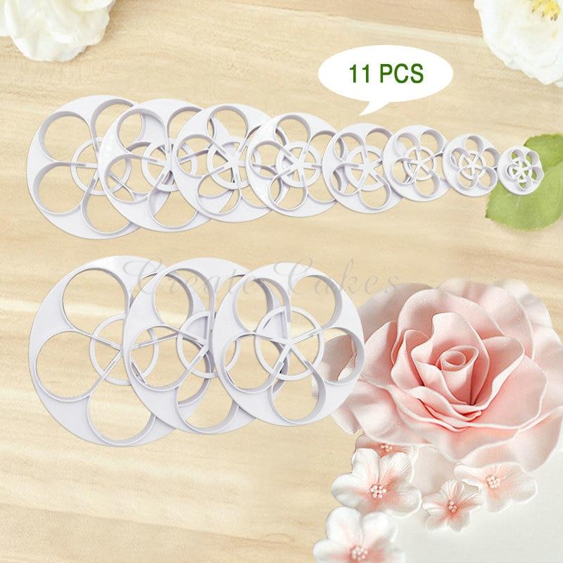 ?11 Different Size (?)_/? Rose Rose Cake Leaf Cutter Petal ...
