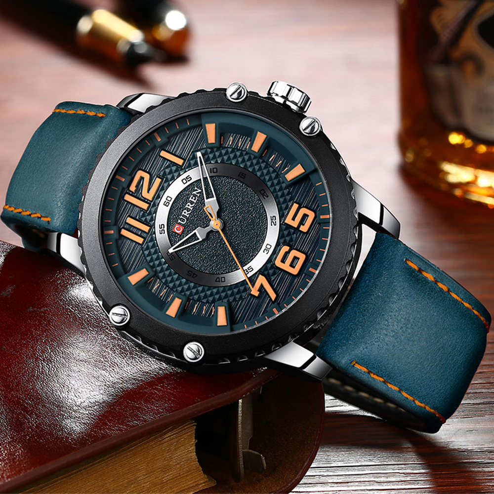New Leather Watches Mens Top Brand CURREN Fashion Men's Clock Causal Business Quartz Wristwatch Gift Relogio Masculino-in Quartz Watches from Watches