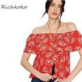 Richkoko Moda Impreso Hombro Blusa Suelta Cuello Slash Volantes Blusa de Las Mujeres Camisa Casual Layered Rojo Blusa de Las Mujeres