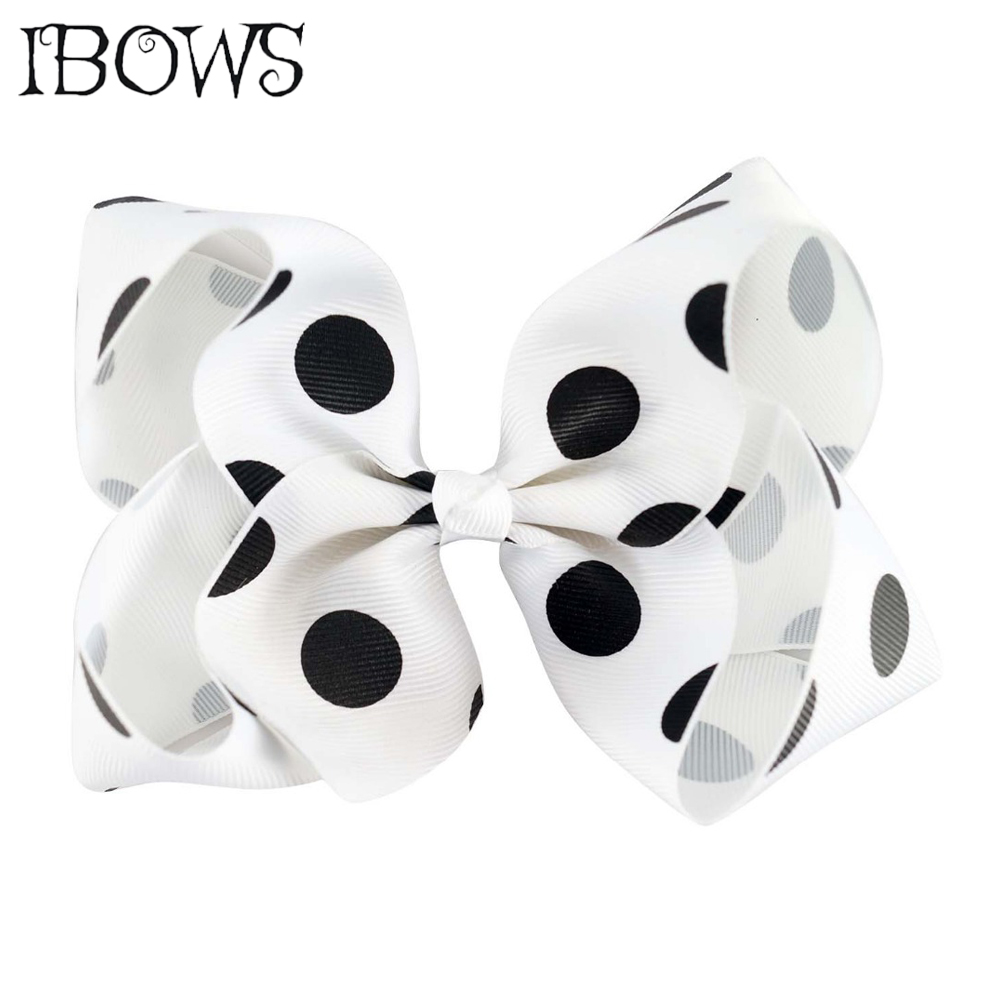 5 Inch Big Polka Dots Children Baby Girls Knotted Hair Bows With 6cm Boutique Clips Polyester Hairpins