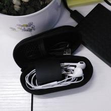 Черный PU Кожаный Чехол Чехол Для Хранения Сумка Хранения Наушников Сумка Для Небольших Электронных Устройств