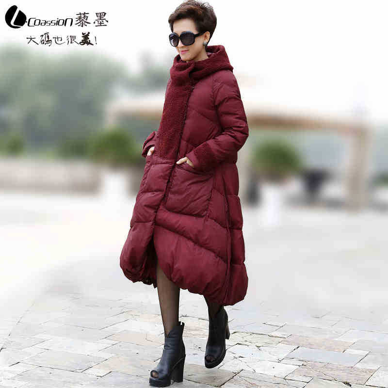 2015 New Hot Woman Down jacket Coat Parkas Outerwear Thicken Warm Luxury Hooded Loose Straight Mid Long Plus Size