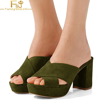 Dark Green Peep Toe Cross Strap Mules Platform Block Heels Slippers Summer Outside Slides Elegant Woman Shoes US Size 4-16 FSJ