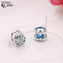 New Blue Cubic Zirconia Stud Earrings Iron Man Heart Round Crystal Girl Women Ear Studs Fashion Earring Jewelry Accessories(China)