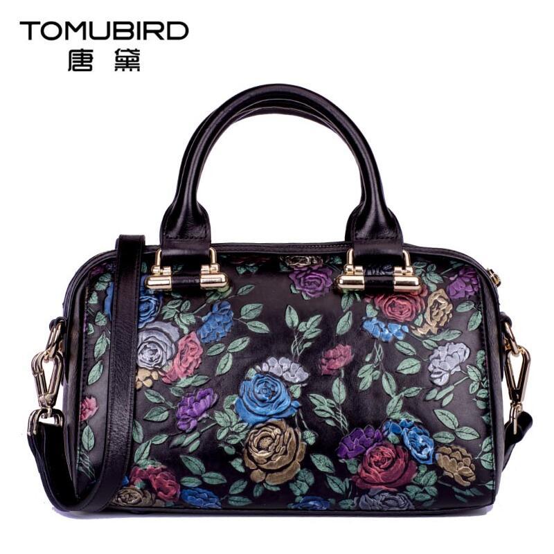 цена на Famous brand top quality dermis women bag  Original upscale handbags Plant flowers messenger bag Boston bag
