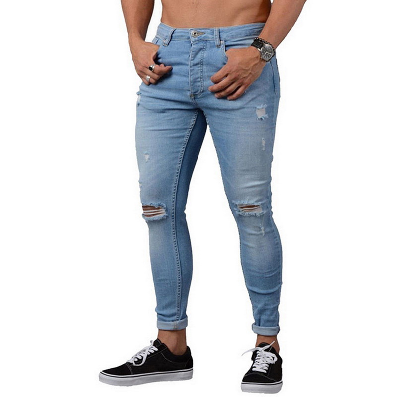Oeak Mens Skinny   Jeans   2019 New Fashion Vintage Denim Pencil Pants Casual Stretch Trousers Sexy Hole Ripped Male Zipper Trousers
