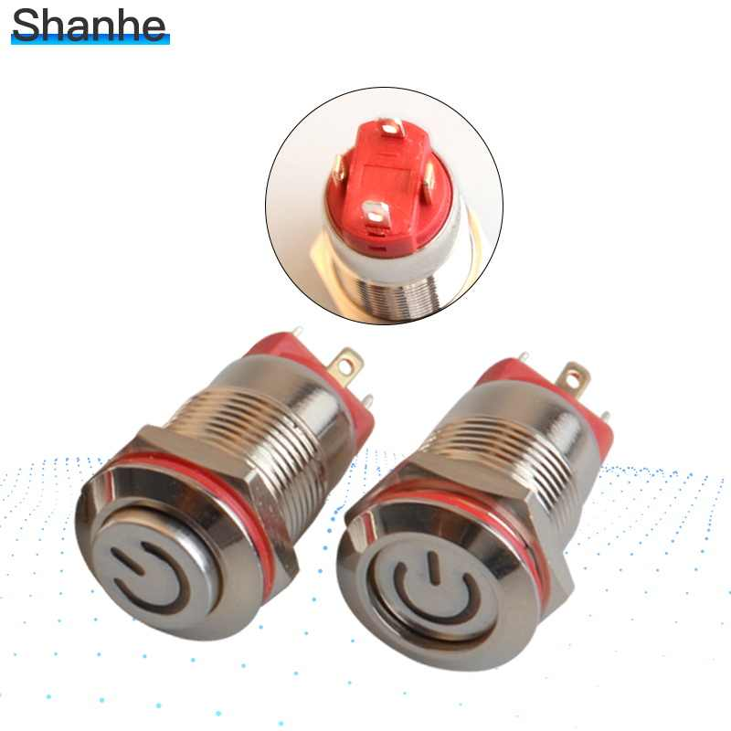Latching push button switch locked 12mm flat head fixed Push Button waterproof LED metal switch High/Flat Head