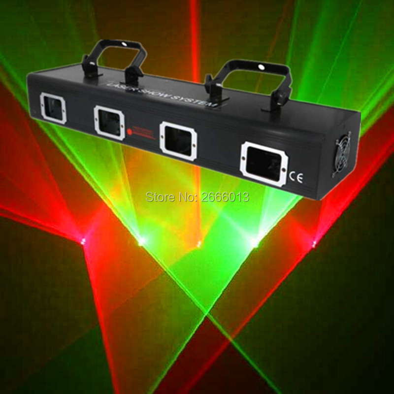 Professional 4 Heads RG Laser/Red Green Color Scan Stage Light/ DJ Dance Party Flash Show Disco Christmas DMX512 Laser Projector Scanner