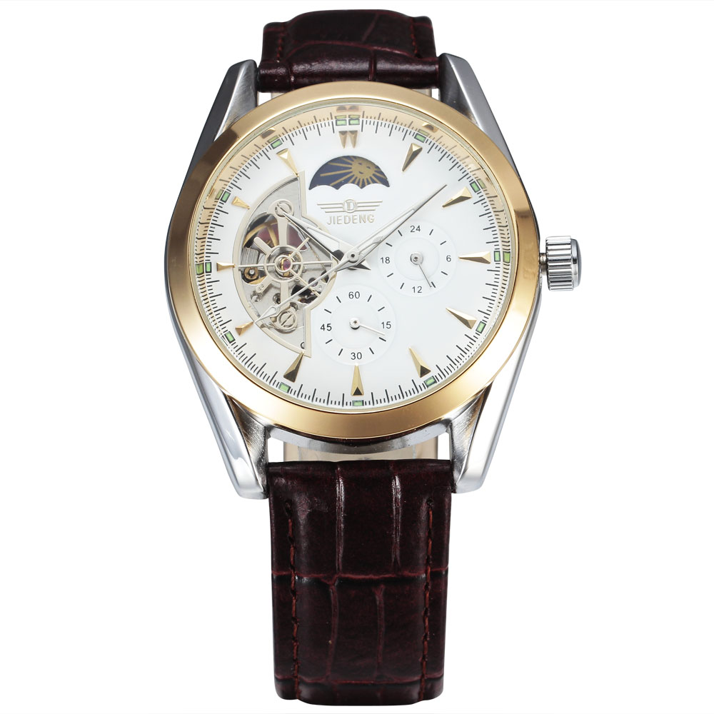 2018 Top brand Watches men automatic tourbillon watches Moon Phase 24 hour/60 min sub-dial leather strap mechanical wristwatch