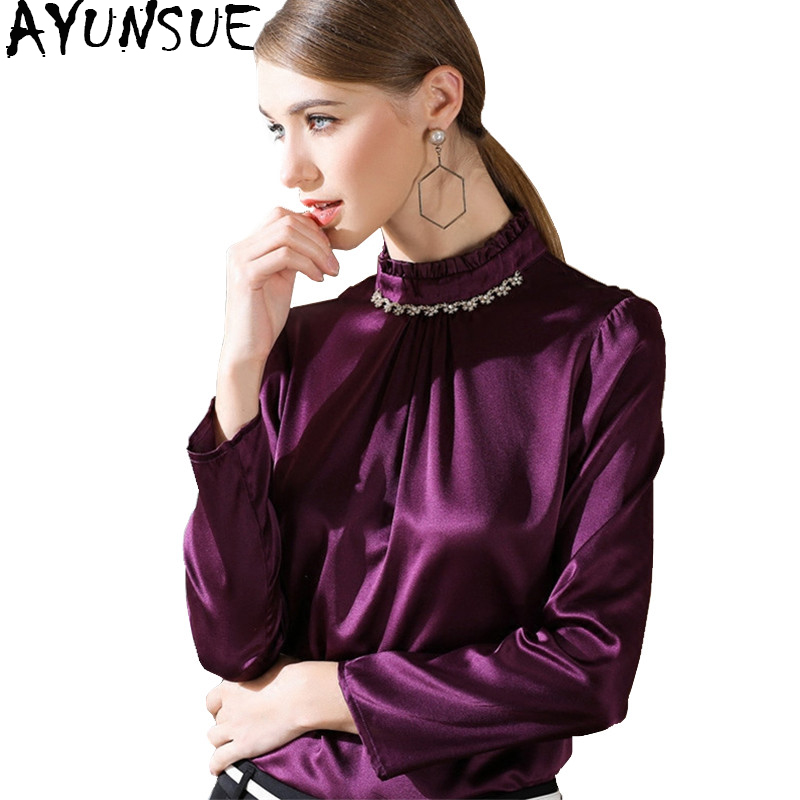 79bf056aeafcc4 AYUNSUE 100% Silk Blouse Women Clothing 2018 Spring Long Sleeve Shirt Office  Work Women s Fashion