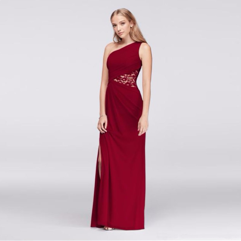 Red   Dress   for Wedding Party Robe Demoiselle d'honneur Wedding Guest   Dress   One shoulder Sleeveless High Split   Bridesmaid     Dress