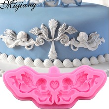 Mujiang DIY European Relief Angel Dry Pace Silicone Molds Wedding Cake Border Fondant Cake Decorating Chocolate Clay Molds XL280