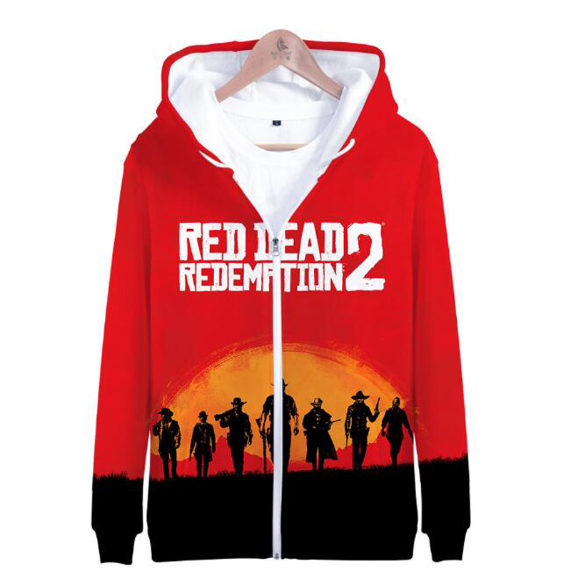 Moletom RED DEAD REDEMPTION 2 3D Print Zip Up Harajuku Hoodies Sweatshirt men Hip Hop Fleece Zipper Hooded Jacket Coat Outwear