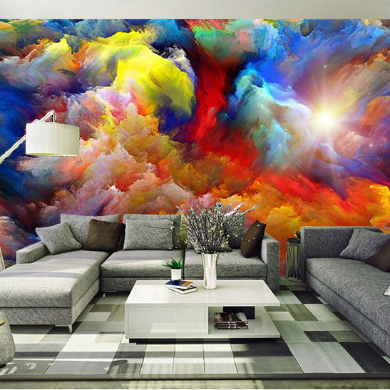 Free Shipping 3D European abstract painting sofa TV KTV lounge bar living room background colour wallpaper mural  free shipping cartoon pattern wallpaper leisure bar ktv lounge living room sofa children room background comics wallpaper mural