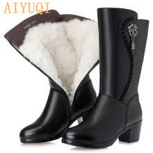 цена на AIYUQI  2019 new genuine leather women wool boots  thick warm winter snow boots large size 41 42 43 motorcycle boots women