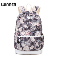 Winner Brand Unique Printing Backpack Women Floral Bookbags Canvas Backpack Schoolbag For Girls Rucksack Casual