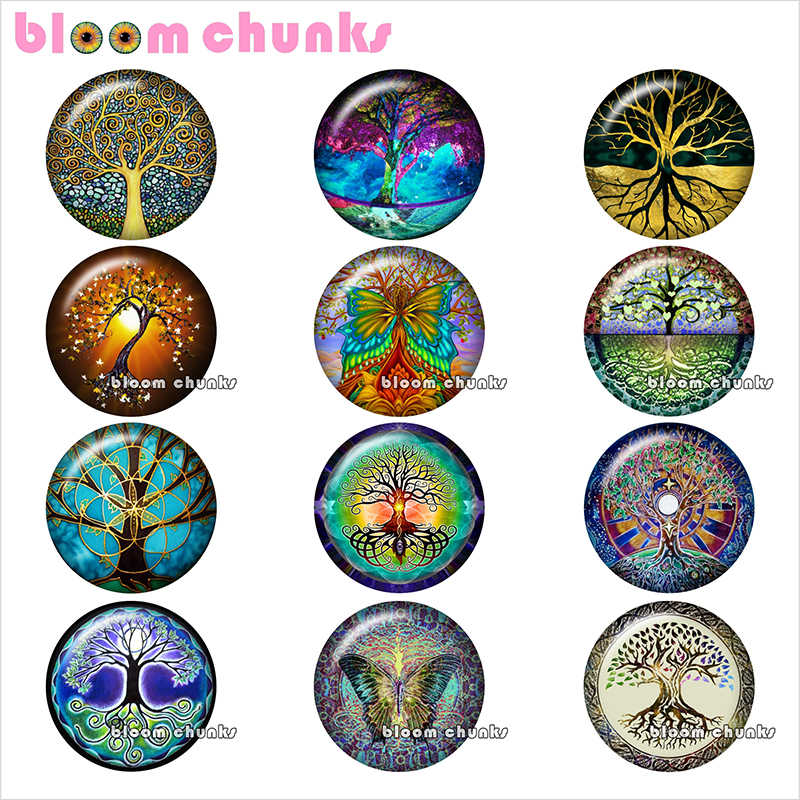 tree of life Round photo glass cabochon demo flat back Making findings 12mm/18mm/20mm/25mm TL1233