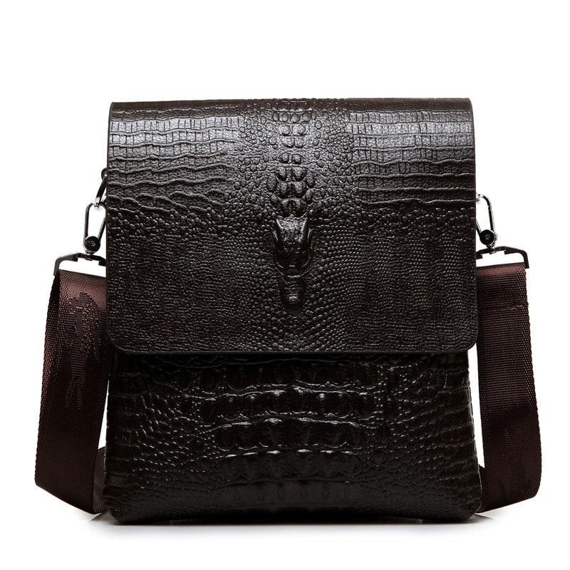 2017 New Men Messenger bag male fashion small mens shoulder bags Crocodile pattern PU Leather Bag Business Vintage crossbody Bag