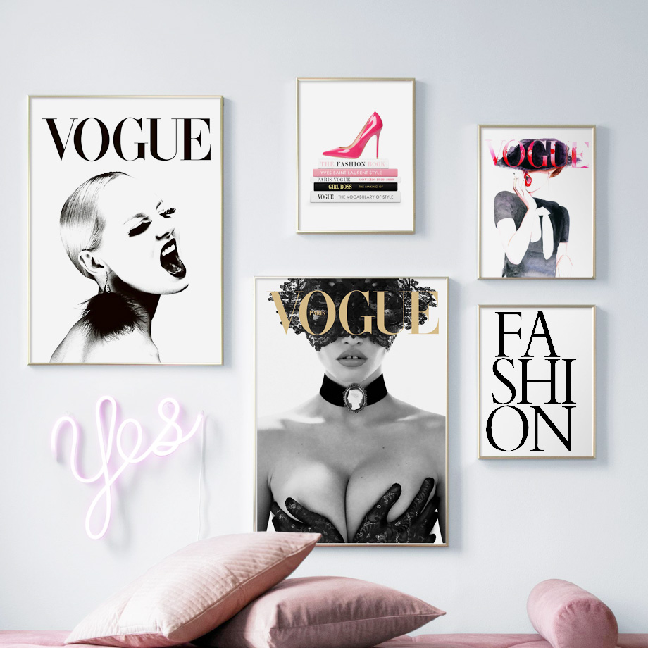 Vogue Sexy Girl High Book Heels Wall Art Canvas Painting Fashion Nordic Posters And Prints Wall Pictures For Living Room Decor