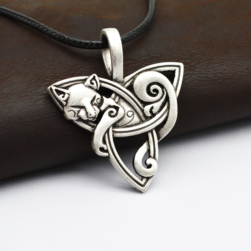 1 unids Hombres Gran Viking Joyería Fox Triquetra Fenrir Animal Teen Wolf Collar Irish Celtics Nudo Colgante Amuleto Collar CT526