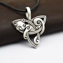 1pcs Men's Large Viking Jewelry Fox Triquetra Fenrir Animal Teen Wolf Necklace Irish Celtics Knot Pendant Amulet Necklace CT526