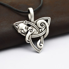1 Pcs Pria Besar Viking Perhiasan Fox Light Box Fenrir Hewan Teen Wolf Kalung Irlandia Celtics Simpul Liontin Amulet Kalung CT526(China)