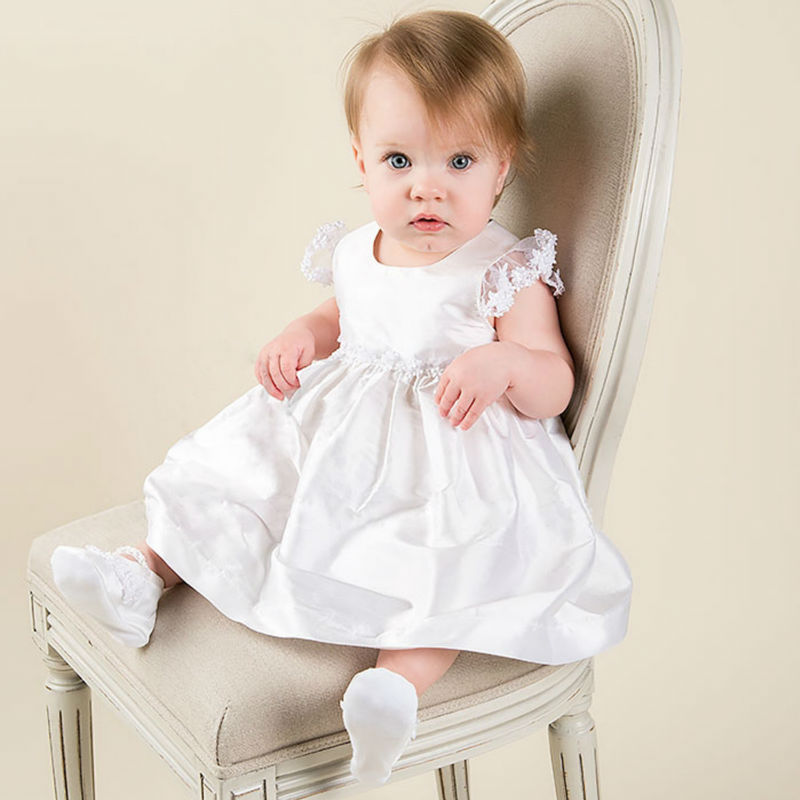 New Flower Girls Dresses For Wedding Gowns Mid- Calf  Baby Girl Clothes Satin Dresses for Communion
