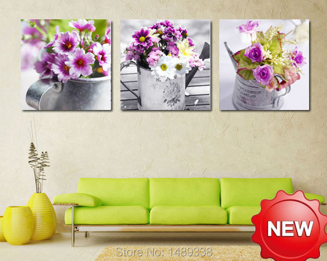 High Quality 3 Panels Home Decor Wall Art Painting Prints of flowers ...