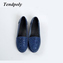 2018 new retro fashion flat women's shoes spring autumn big size of a pedal genuine leather shoes hot sale diamond casual shoes