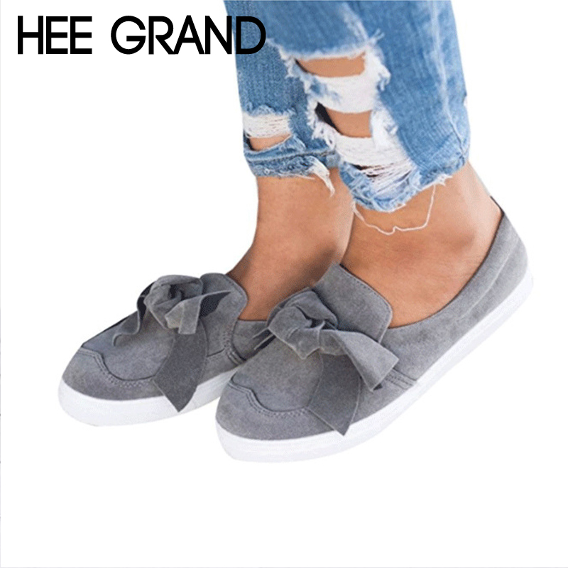HEE GRAND Bowtie Platform Canvas Shoes Woman Solid Loafers Slip On Creepers Fashion Ladies Flats 4 Colors Size 35-43 XWZ5186 hee grand spring platform women pumps with bowtie patent leather shoes woman round toe slip on loafers ladies footwear xwd5975