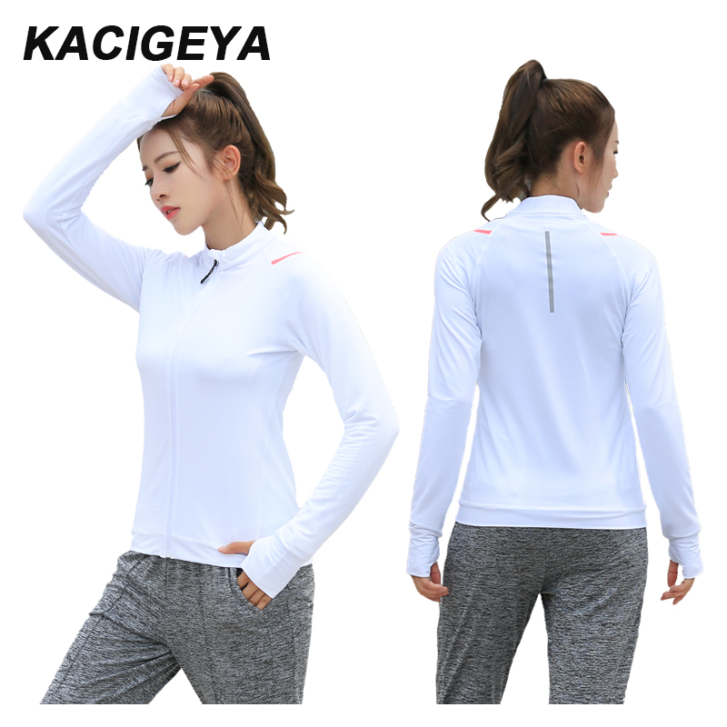 2018 Running Jackets Sports Coats Fitness Yoga Jogging Zip Shirts Gym Long Sleeves Quick-Dry Breathable Tight Tops Women Shirts