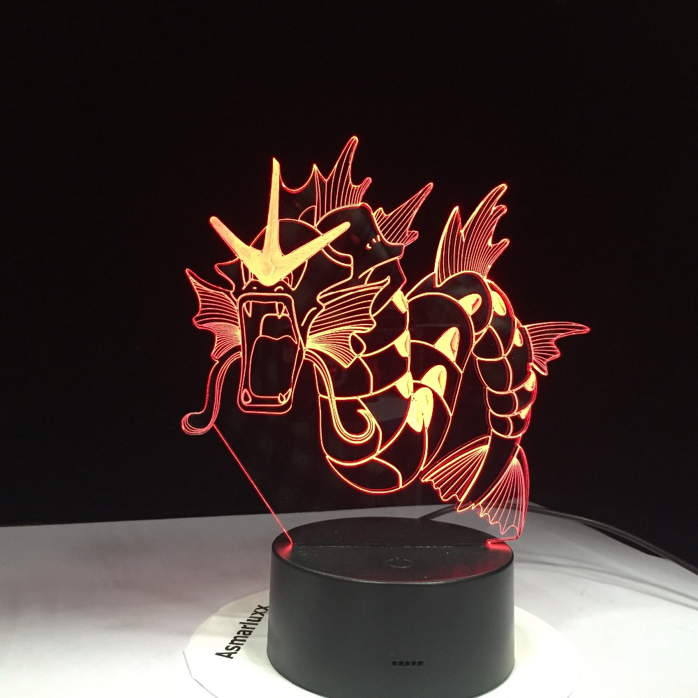 Gyarados Pokemon 3D Lamp 7 Color Led Night Lamps For Kids Touch Led Usb Table Lampara Lampe Baby Sleeping Nightlight Drop Ship
