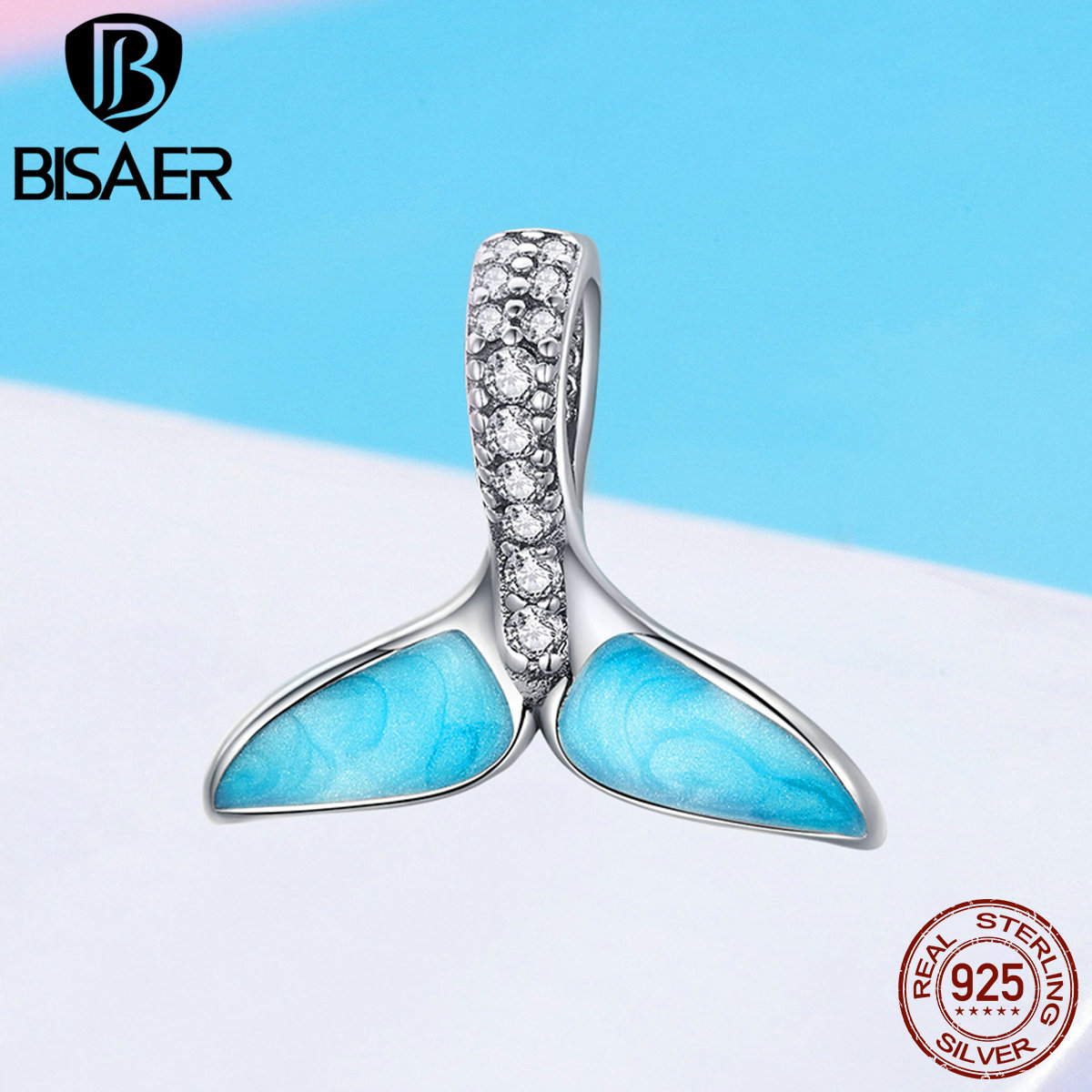 BISAER 925 Sterling Silver Blue Enamel Clear CZ Mermaid Pendant Charms for Charm Bracelet and Necklace Fashion Jewelry GXC1067