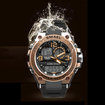 Men Watch Red SMAEL Fashion Quartz Wristwatch S Shock Resist Automatic Date LED Watch Digital Alarm1603 Sport Watches Waterproof