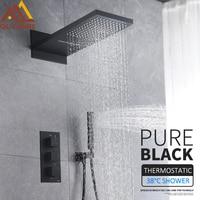 Quyanre черный термостатический смесители набор дождь водопад Насадки для душа с 3 способ Термостатический Смеситель Ванна смеситель для душа