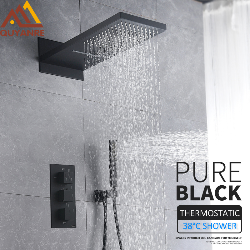 Quyanre Black Thermostatic Shower Faucets Set Rain Waterfall Shower Head With 3-way Thermostatic Mixer Tap Bath Shower Faucet