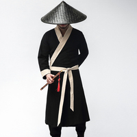 Chinese traditional hanfu costume men swordsman black hanfu costume for stage performance ancient tang robe clothes male