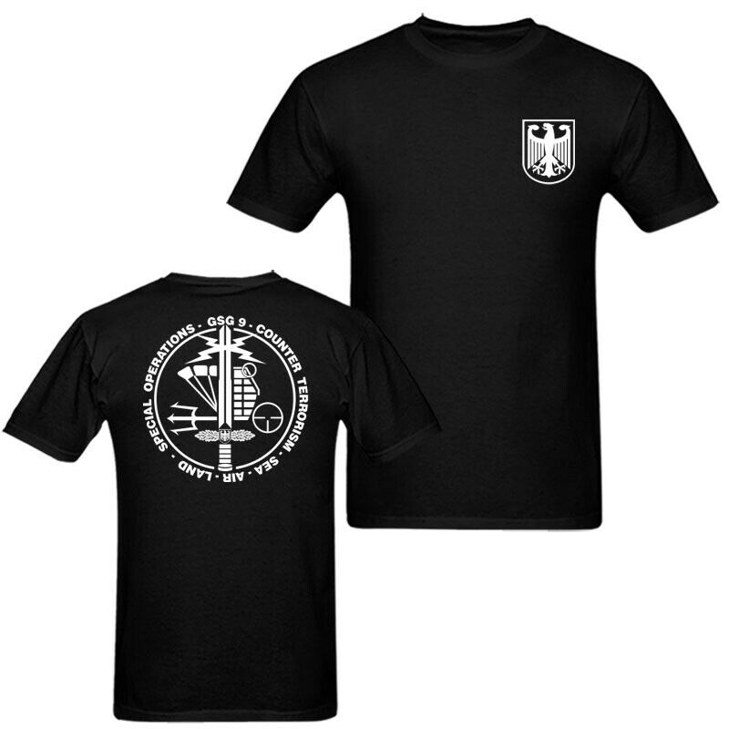 2019 Fashion Double Side German Counter Terrorism Special Men'S T Shirt Navy Blue Unisex Unisex Tee