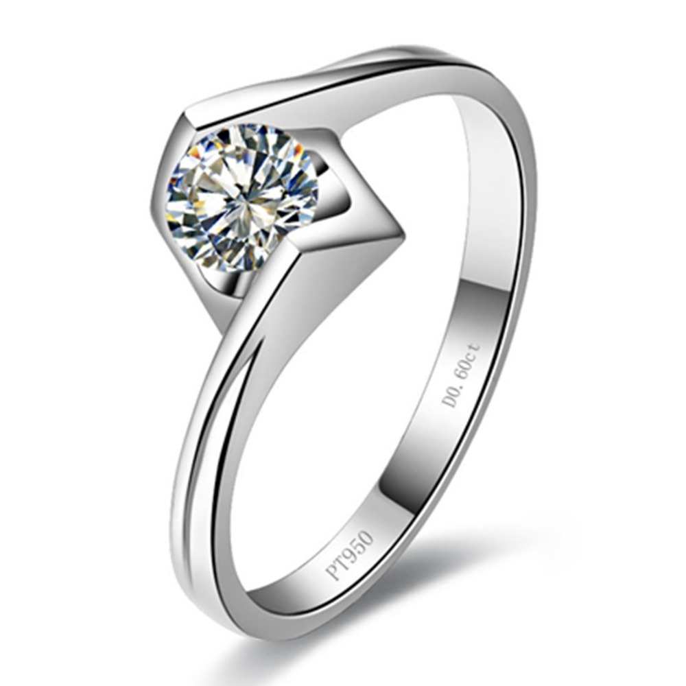 18K White Gold Plated Propose Jewelry 0 6CT Engagement Ring Sterling Silver PT950 Stamped Solitaire Simulate