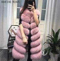 Womens Winter Fashion 2018 Natural Fox Fur Vest Real Fur Gilet 90CM Womens Real Fox Fur Vest Long Coat Ship by DHL 5 days