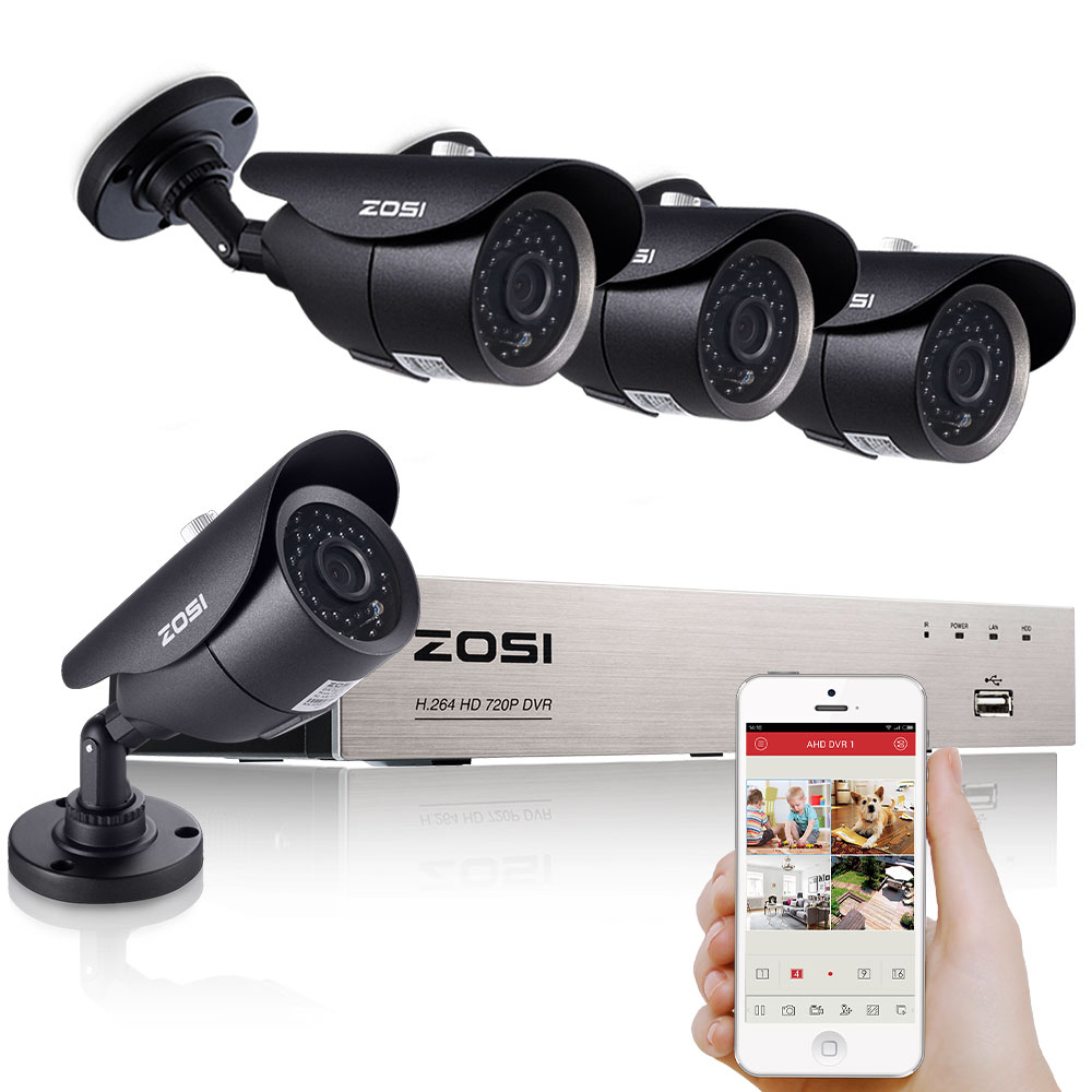 ZOSI HD 8CH CCTV System 720P HDMI DVR Kit 1280TVL Outdoor Security Waterproof Night Vision 4