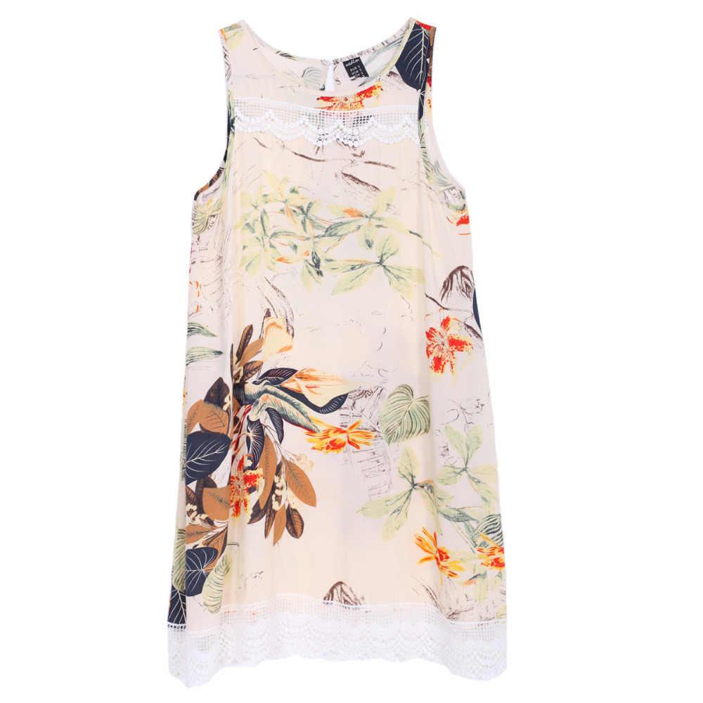 Для женщин кружева цветочный принт Цельнокройное платье в винтажном стиле, с круглым вырезом, без рукавов, Повседневное платье, женское платье, Клубная одежда Платье QZ1976