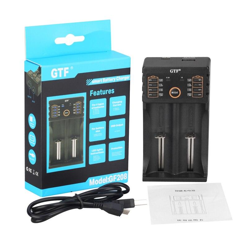 GTF GF208 USB Intelligente Batterie Ladegerät mit Power Bank Funktion für Ni-Mh Lithium-für 14500 26650 18350 18650 Batterie Zellen