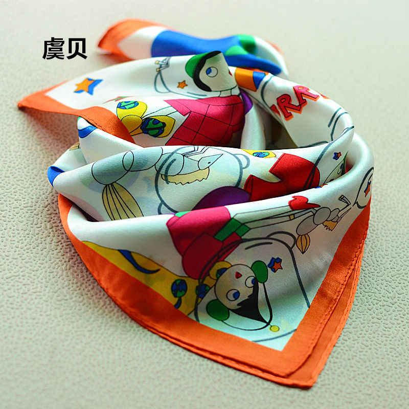 fe3cc3802 Cute cartoon headscarf handkerchief scarves small square mulberry silk  scarf bandanas 50*50cm christmas gifts