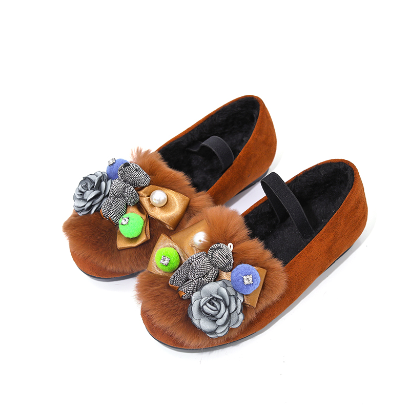 Exquisite kids girls loafers applique flower bear espadrilles princess shoes  elastic band children flats ballet shoe for dress-in Sneakers from Mother  ... e8f3ed2fd738